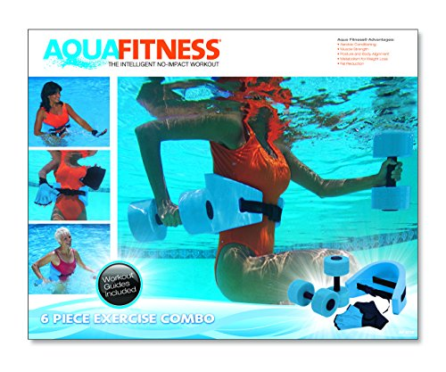 Aqua Fitness Exercise Set - 6 Piece Water Exercise Aerobic Belt, Barbells and Workout Routine