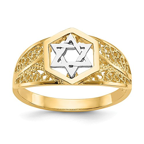 Mia Diamonds 14k Solid Gold Two-Tone Gold Polished Star Of David Ring