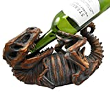 Atlantic Collectibles Prehistoric Dinosaur T-Rex Skeleton Rusted Fossil 11.5″ Long Wine Bottle Holder Caddy Figurine For Sale