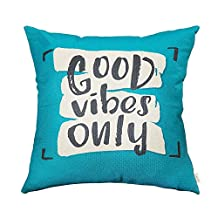 """Fjfz Good Vibes Only Motivational Sign Inspirational Quote Cotton Linen Home Decorative Throw Pillow Case Cushion Cover with Words for Sofa Couch, Teal and Turquoise, 18"""" x 18"""""""