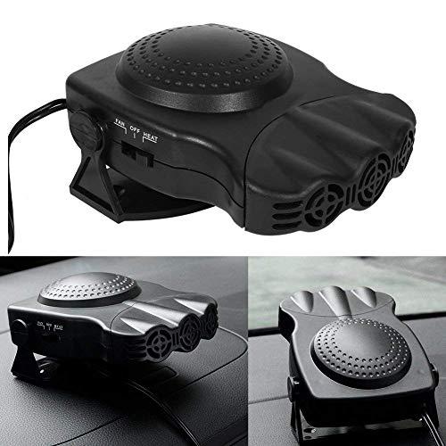 12V Car Heater, Portable Adjustable Auto Heating Cooling Fan Defroster Demister 3-Outlet Plug In Cigarette Lighter 150W