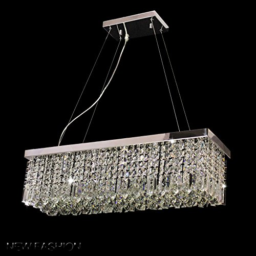 Dst Modern Luxury Rain Drop Rectangle Clear K9 Crystal Chandelier Ceiling Lights with 5 Lights for Living Room Bedroom or Study Room L31.5