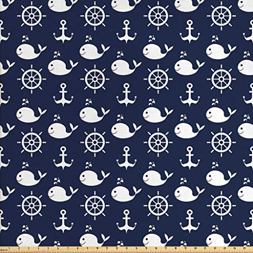 Ambesonne Navy Blue Fabric by The Yard, Maritime Pattern with Whales Helms Anchors Nautical Elements Deep Sea Life, Decorative Fabric for Upholstery and Home Accents, 1 Yard, Navy Blue White (Fabric Outdoor Nautical)