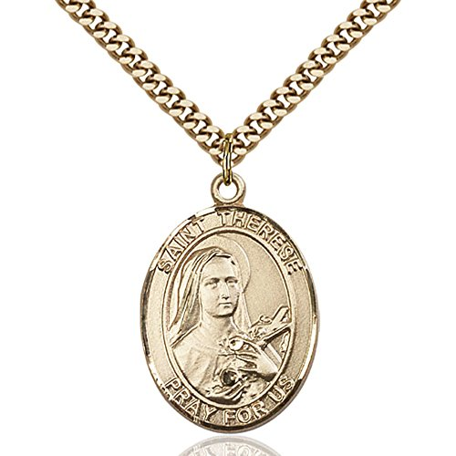 Custom Engraved Gold Filled St. Therese of Lisieux Pendant 1 x 3/4 inches with Heavy Curb Chain (Rhode Island Florist)