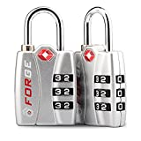 TSA Approved Luggage Locks, Alloy Body, Red Indicator, 1, 2, 4 & 6 Pack (Silver 2 Pack)
