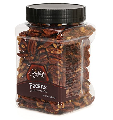 Jaybee's Whole Roasted Salted Pecans - Great for Gift Giving or As Everyday Snack - Reusable Container - Certified Kosher (13 Ounces) (Salted Roasted Pecans)