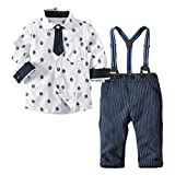 Little Boy Gentleman SetsJchen(TM) Fashion New Style Toddler Baby Boys Bowtie Gentleman Print Long Sleeve Tops T-Shirt Overall Striped Pants Outfits for 0-3 Years Old (Age: 18-24 Months)