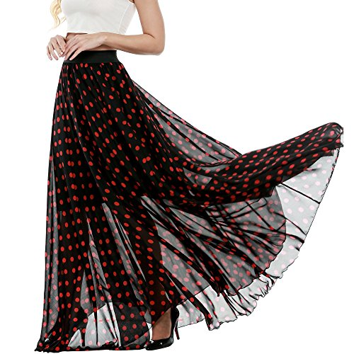 Elesol Women's Ladies Multicolored Mix Print Chiffon Maxi Skirt Red - Mix Red And Black
