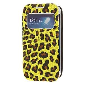 ZXM- Abrir y cerrar Mate piel del leopardo amarillo Lámina PU Cuero y Caso Cuerpo Contraportada completa PC para Samsung Galaxy S4 Mini I9190