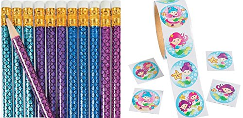 happy deals Mermaid Pencils-(24) Pack and (1) Roll of 100 Mermaid Stickers ()