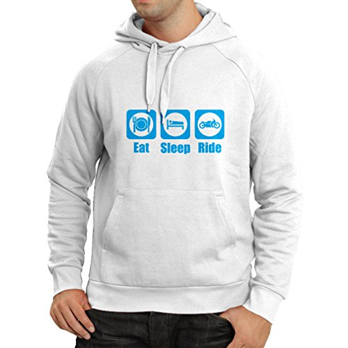 lepni.me Hoodie With Sayings Eat Sleep Ride - Motorbike Quotes, Biker Gift Ideas (X-Large White - Lock Radar Xl