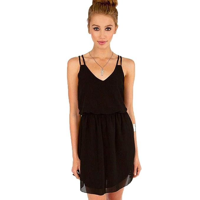 d548e826908 2019 Summer Style Chiffon Party Women V Neck Beach Sleeveless Sweet Mini  Dresses Black
