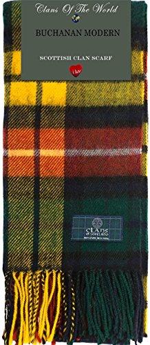 Buchanan Modern Tartan Clan Scarf 100% Soft Lambswool