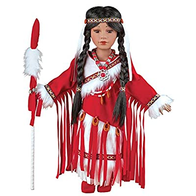 Women's Meoquanee Native American Porcelain Doll with Matching Red and White Outfit - Collectible Figurine