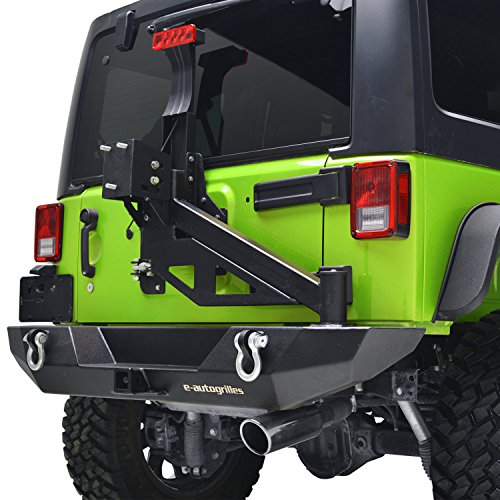 E-Autogrilles JK Jeep Wrangler Rear Bumper with Tire Carrier and Third Brake Light