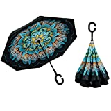Inverted Umbrella, Alink Reverse Folding Double Layer Inside Out Outdoor Rain Away Car Umbrella - Peacock Ling