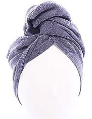 Aquis - Original Long Hair Towel, Ultra Absorbent & Fast Drying Microfiber Towel For Longer Hair, Dark Grey (19 x 44 Inches)