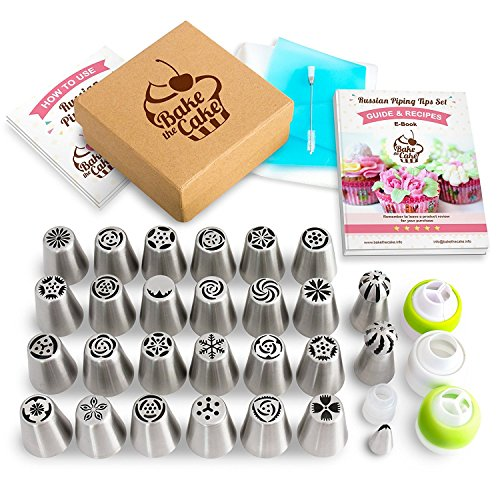 Russian Piping Tips Set, Cake Decorating Nozzles, Icing Flowers, Frosting Tools Coupler, Professional Pastry Cupcake Kit, Best Stainless Steel Booklet with Instructions and Free eBook - by (Cake Pop Tips)