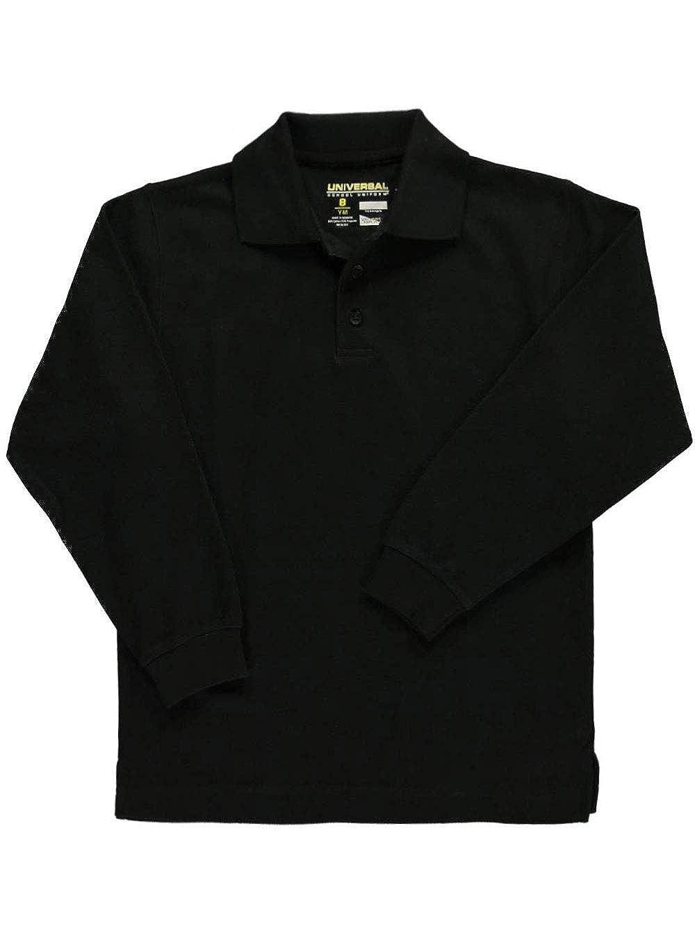 16 Universal Unisex L//S Pique Polo Black