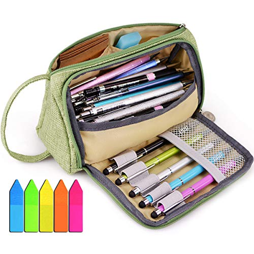 Big Capacity Pencil Pen Case Abrzon Pencil Bag Pouch Holder for Middle High School Office College Girl Adult Large Storage Dark Green