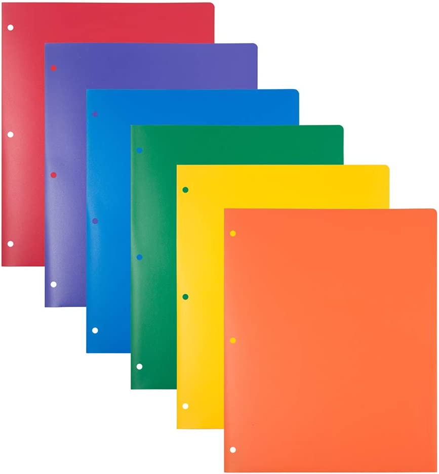 JAM PAPER Heavy Duty Plastic 3 Hole Punch School Folders with Pockets - Assorted Primary Colors - 6/Pack : Office Products