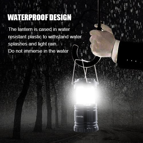 LAVAVIDA LED Camping Lantern - 2 Pack Safety Lamp Light for Emergency, Hiking, Fishing, Blackouts, Hurricanes, Storms - Portable, Collapsible, Water Resistant - Ultra Bright Flashlight - Black by LAVAVIDA (Image #5)