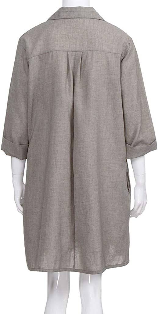 ❤️ ❤️Women Loose Cotton Linen Boho Dress Turn-Down Collar Mid Length Casual Dress with Chest Pockets Nmch