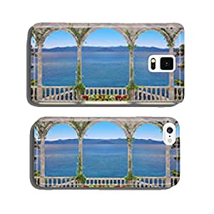 Terrace with balustrade overlooking the sea and mountains cell phone cover case Samsung S6