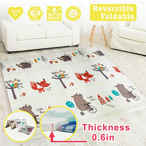 Baby Play mat, playmat,Baby mat Folding Extra Large Thick Foam Crawling playmats Reversible Waterproof Portable playmat for Babies (Fox)