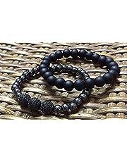 Logina Accessories 347 Bracelets Set Of 2 For Unisex - Black Dark Grey