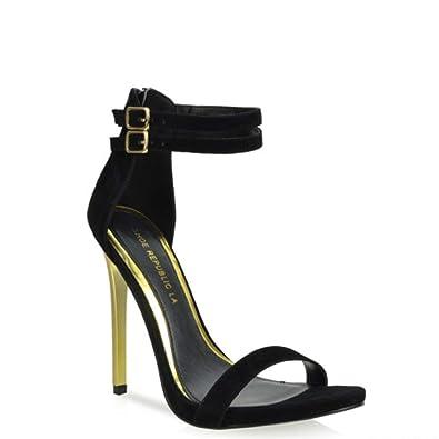 870021858513 Image Unavailable. Image not available for. Color  Shoe Republic LA Liam Black  Double Ankle Strap Single Sole High Heel