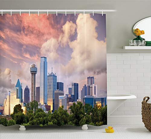 Dallas Shower Curtain - Ambesonne United States Shower Curtain, Dallas City Skyline at Sunset Clouds Texas Highrise Skyscrapers Landmark, Fabric Bathroom Decor Set with Hooks, 75 Inches Long, Blue Lavender