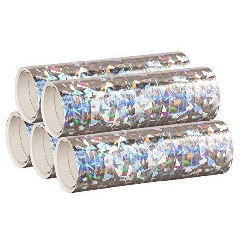 Silber Metallic Luftschlangen im 5er Sparpack - 5 Rollen mit je 18 holografisch-glitzernden Luftschlangen - für Karneval, Fasching, Geburtstag, Silvester, Dekoration - PARTYMARTY GMBH®