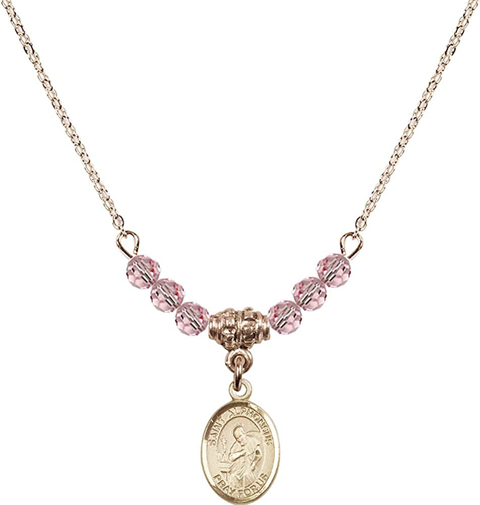 18-Inch Hamilton Gold Plated Necklace with 4mm Light Rose Birthstone Beads and Gold Filled Saint Alphonsus Charm.