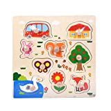Winkey Toys for Age 1 2 3 4 5 6 Years Old Baby Boys Girls, 9 Piece Wooden Animal Puzzle Jigsaw Early Learning Baby Kids Educational Toys (Animals & Car & House)