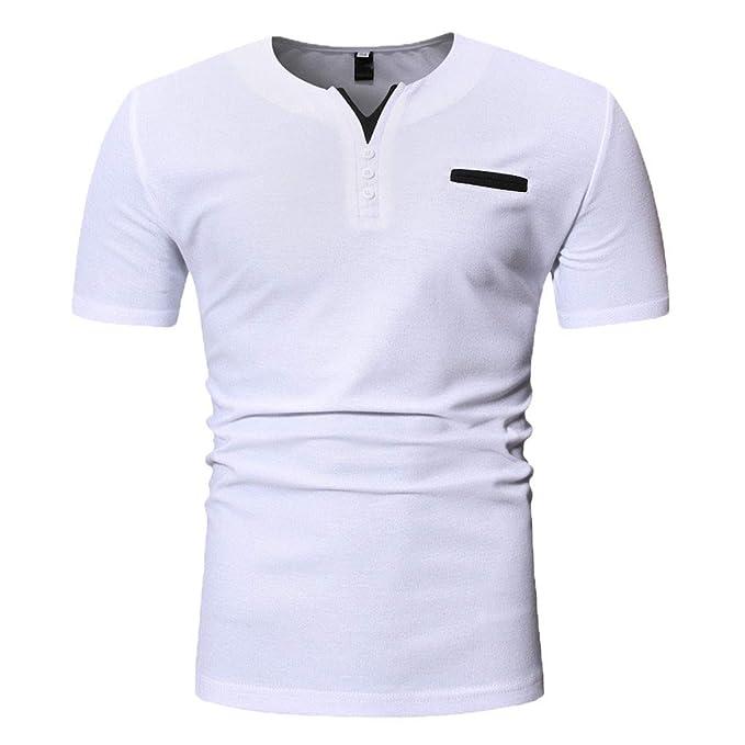 Camisetas para Hombre, YpingLonk Cuello de Henry T-Shirt Primavera ...