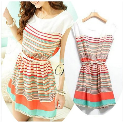 Women's Stripe Flouncing Chiffon Dress Clubwear Skater Dresses