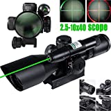 E-link Hunting Rifle Scopes 2.5-10x40EG Airsoft Gun Scopes For Coyote Hunting R&G Illuminated Mil Dot laser sight Spotting Scopes Fit 1 inch Rail Shotgun/Sniper Rifle With Optics Gun Scope Len Covers