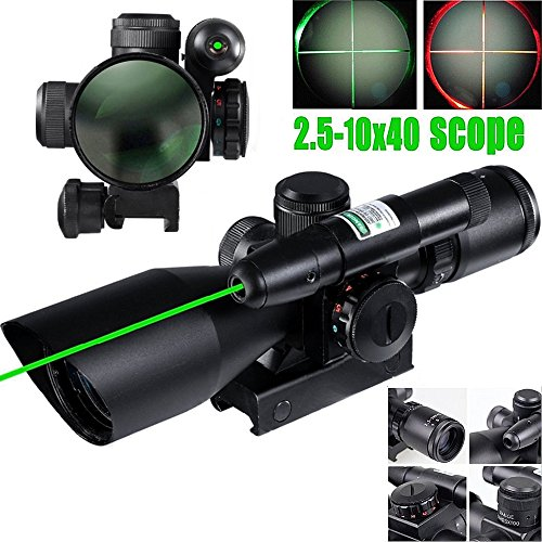 E-link Hunting Rifle Scopes 2.5-10x40EG Airsoft Gun Scopes For Coyote Hunting R&G Illuminated Mil Dot laser sight Spotting Scopes Fit 1 inch Rail Shotgun/Sniper Rifle With Optics Gun Scope Len (Spotting Scope Rail)