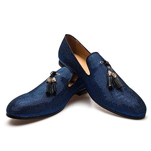(Men's Vintage Velvet Metal Loafers Shoes Slip-on Loafer Smoking Slipper (12 D (M) us, Blue))