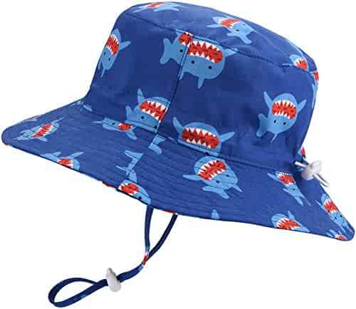 af80abaa Baby Sun Hat Adjustable - Outdoor Toddler Swim Beach Pool Hat Kids UPF 50+  Wide