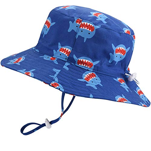 Baby Sun Hat Adjustable - Outdoor Toddler Swim Beach Pool Hat Kids UPF 50+ Wide Brim Chin Strap Summer Play Hat(Shark, 52cm) ()