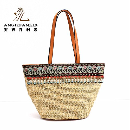Straw Bag Tote – Angedanlia Woman Handmade Bag Summer Beach Woven Shoulder Bag (4078-4)