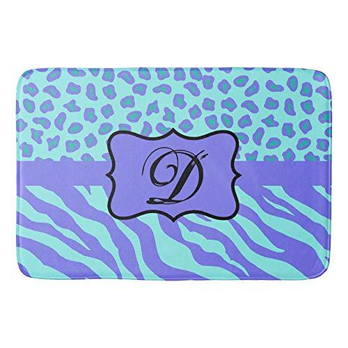 (Turquoise Lavender Zebra Leopard Skin Monogram Doormat Bath Door Mat 16 x 24 inch)