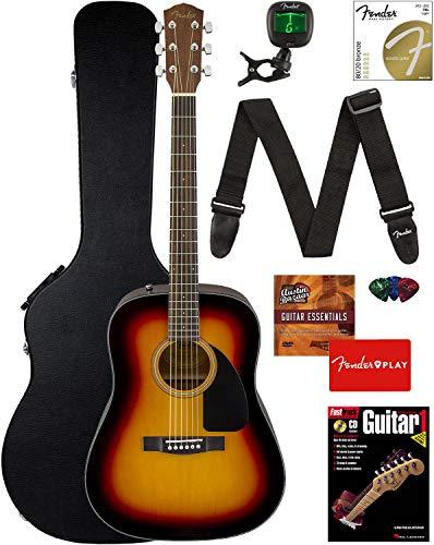 Fender CD-60 Dreadnought Acoustic Guitar - Sunburst Bundle with Hard Case, Strap, Tuner, Strings, Picks, Instructional Book, and Austin Bazaar Instructional DVD (Sunburst Fender)