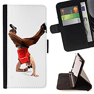BullDog Case - FOR/HTC One M8 / - / Design Break Dancer Man /- Monedero de cuero de la PU Llevar cubierta de la caja con el ID Credit Card Slots Flip funda de cuer