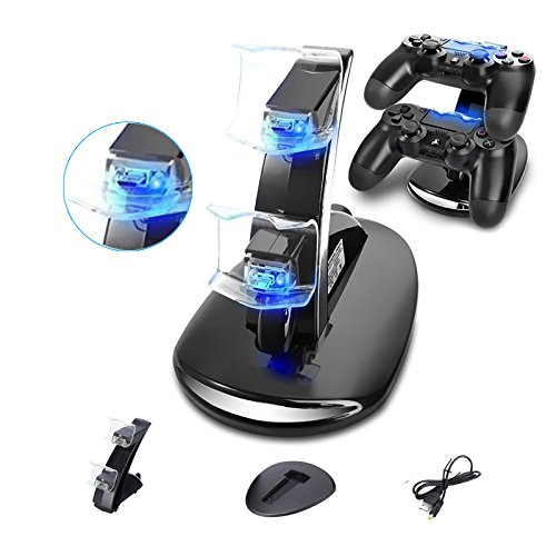 PS4 Controller Charger,STMAN Playstation 4/PS4 Pro/PS4 Slim Controller Charger Charging Docking Station Stand.Dual USB Fast Charging Station&LED Indicator for Sony PS4 Controller (Video Sports Game System Wireless)