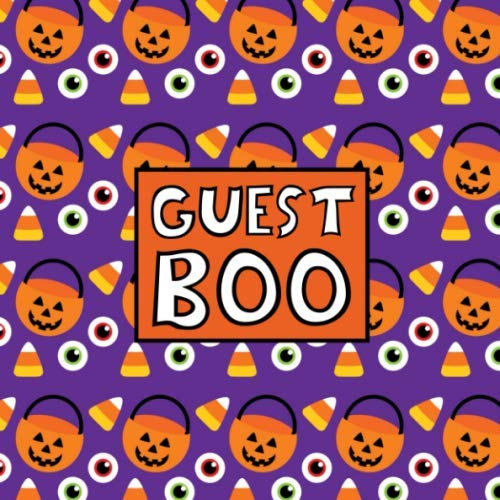 Guest Boo: Halloween Guest Book - Pumpkins Candy & Eyeballs - Funny Pun Sign In Guestbook for Halloween Themed Wedding, Costume Party, Baby Shower or ... Name and Address -