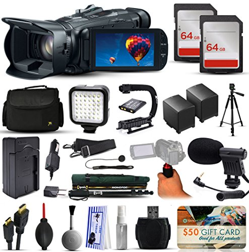 Canon VIXIA HF G30 HFG30 HD Camcorder Video Camera + 128GB Boardcasting Filmmaker's Package with LED Night Light + Tripod + Monopod + Action Stabilizer + Handgrip + Microphone + More (Best Movie Camera)
