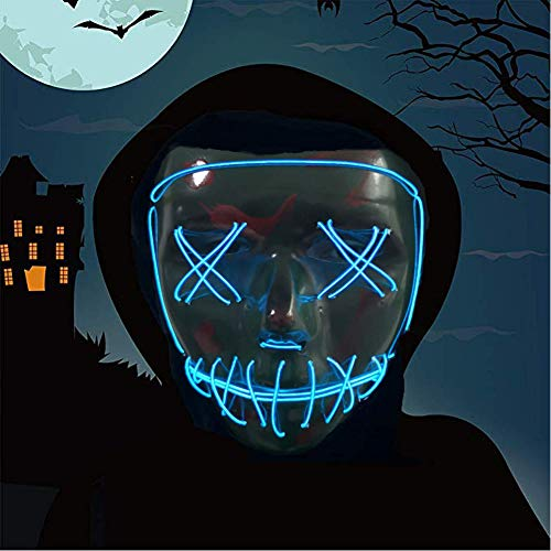 Halloween Mask,LED Masks Glow Scary Mask Light Up Cosplay Mask Rave Mask for Festival Music Party Parties Costume Christmas (Halloween mask for Bule 3)